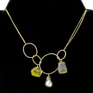 ALEXIS BITTAR~caged pearl & citrine~LINK NECKLACE